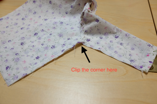 Clip the top side seam corner