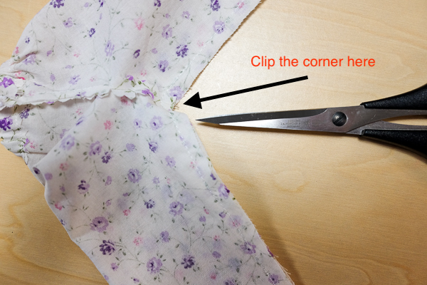 Clip the corner of the inseam