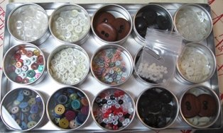 Doll Buttons kept in jewellers cases
