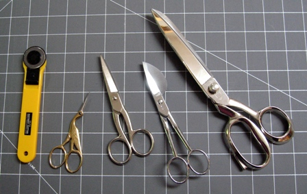 A selection of different sewing scissors
